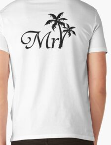 His and Hers Mr and Mrs Tropical Palm Tree Wedding Honeymoon  Mens V-Neck T-Shirt