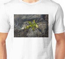 Submerged Beauty - Sunny Ripples on a Jade Green Oak Leaf Unisex T-Shirt