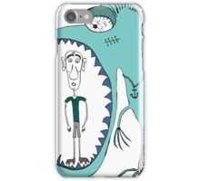 Fish eating guy with a rollers, blue, fish, rollers, scary iPhone Case/Skin