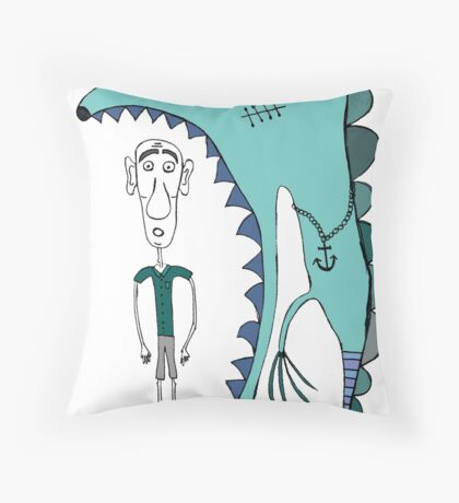 Fish eating guy with a rollers, blue, fish, rollers, scary Throw Pillow