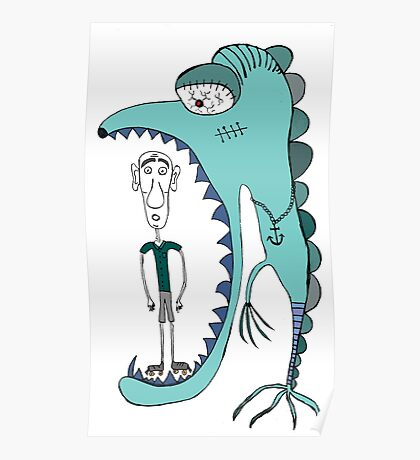 Fish eating guy with a rollers, blue, fish, rollers, scary Poster