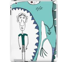 Fish eating guy with a rollers, blue, fish, rollers, scary iPad Case/Skin
