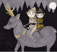 Elves Riding a Reindeer by Tiffany Dow