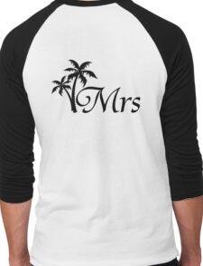 His and Hers Mr and Mrs Tropical Palm Tree Wedding Honeymoon Men's Baseball ¾ T-Shirt