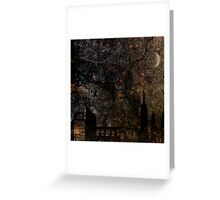 Town and spooky night, dark, night, moon, scary Greeting Card