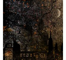 Town and spooky night, dark, night, moon, scary Photographic Print