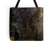 Town and spooky night, dark, night, moon, scary Tote Bag