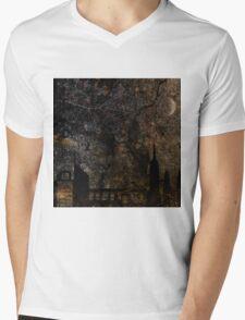 Town and spooky night, dark, night, moon, scary Mens V-Neck T-Shirt