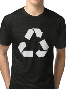 White RECYCLE SYMBOL Tri-blend T-Shirt