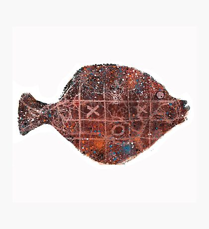 Noughts and crosses on the fish, orange, blue, red, white, black Photographic Print