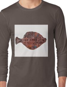 Noughts and crosses on the fish, orange, blue, red, white, black Long Sleeve T-Shirt