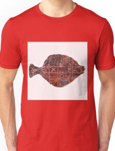 Noughts and crosses on the fish, orange, blue, red, white, black Unisex T-Shirt