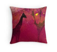 Pink, giraffe, tree, loneliness Throw Pillow