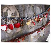 Love locks on the Great Wall of China Poster