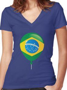 Brazilian flag Women's Fitted V-Neck T-Shirt