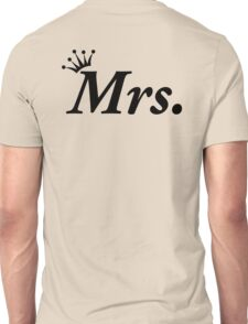 Mrs Just Married Honeymoon Black Tiara Unisex T-Shirt