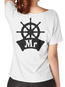 His and Hers Mr and Mrs Cruise Ship Wheel Wedding Honeymoon Women's Relaxed Fit T-Shirt