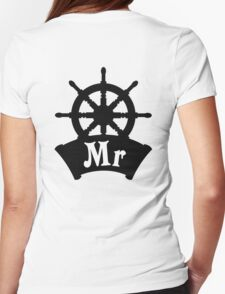 His and Hers Mr and Mrs Cruise Ship Wheel Wedding Honeymoon Womens Fitted T-Shirt