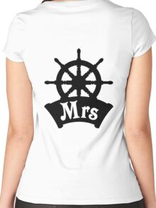 His and Hers Mr and Mrs Cruise Ship Wheel Wedding Honeymoon Women's Fitted Scoop T-Shirt