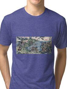 Battle At The Nyoirin Hall In Washu - Shuntei Katsukawa - 1811 - woodcut Tri-blend T-Shirt