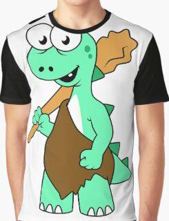 Cartoon illustration of a Tyrannosaurus Rex caveman. Graphic T-Shirt