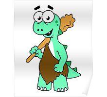 Cartoon illustration of a Tyrannosaurus Rex caveman. Poster