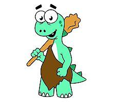 Cartoon illustration of a Tyrannosaurus Rex caveman. Photographic Print
