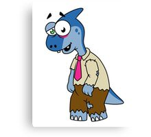 Illustration of a Parasaurolophus dressed up as a zombie. Canvas Print
