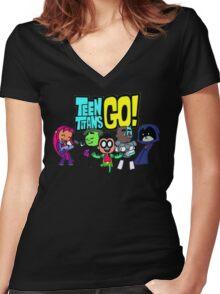 Chibi Titans Go!  Women's Fitted V-Neck T-Shirt