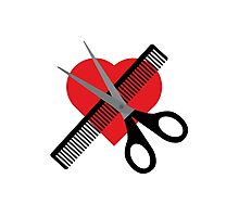 scissors & comb & heart Photographic Print