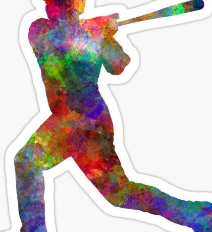 Baseball player hitting a ball Sticker