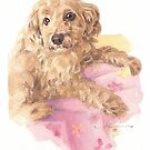 puppy on pink blanket watercolor by Mike Theuer