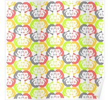 Audrey Lime Orange Grey Red Pattern Poster