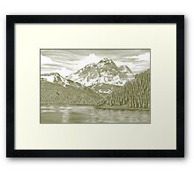 Woodcut Landscape with Mountain Framed Print
