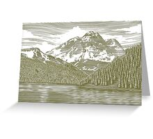 Woodcut Landscape with Mountain Greeting Card