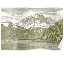 Woodcut Landscape with Mountain Poster