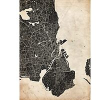Copenhagen map ink lines Photographic Print