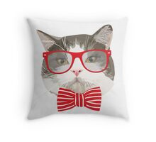 Fat Cat with Glasses Throw Pillow