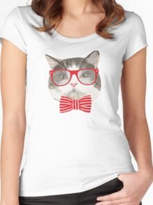 Fat Cat with Glasses Women's Fitted Scoop T-Shirt