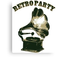 Retro Party with  Gramophone Canvas Print
