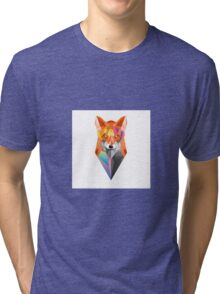 colorful geometric fox Tri-blend T-Shirt