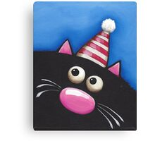 Party Cat in a red hat Canvas Print
