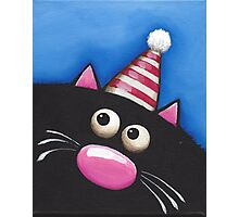 Party Cat in a red hat Photographic Print