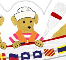 Nautical Preppy Dogs - Golden Retrievers Sticker