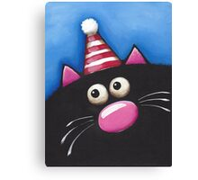 Cat in a party hat Canvas Print