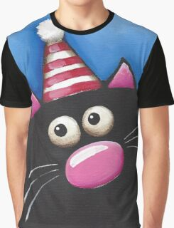 Cat in a party hat Graphic T-Shirt