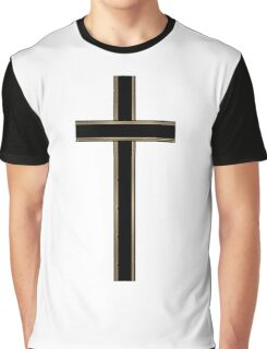 Gold Christian Cross Graphic T-Shirt