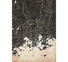 Helsinki map ink lines 2 Photographic Print
