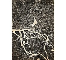 Hamburg map ink lines 2 Photographic Print
