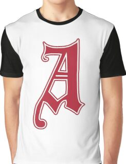 English Gothic Monogram letter A - red color Graphic T-Shirt
